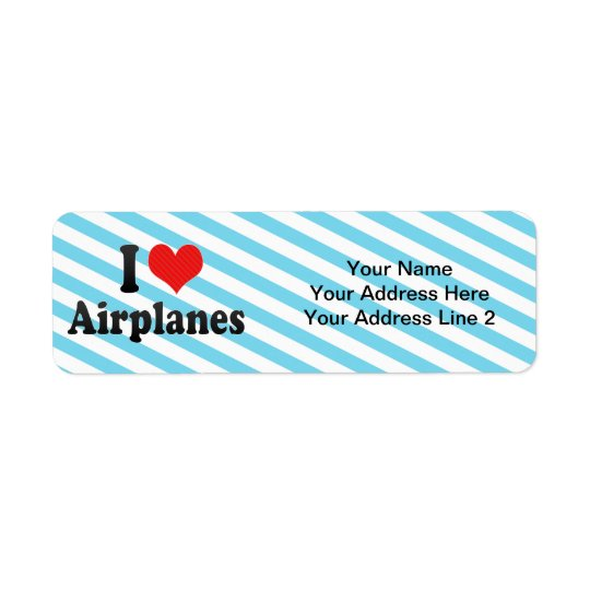 Jag älskar flygplan returadress etikett
