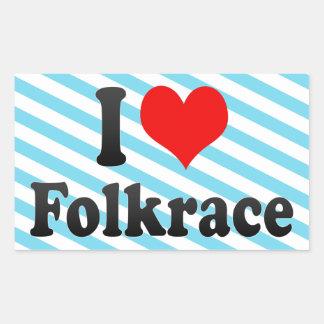 Jag älskar Folkrace Rektangulärt Klistermärke