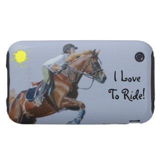 Jag älskar för att rida! Rid- fall för hästiPhone  iPhone 3 Tough Skydd