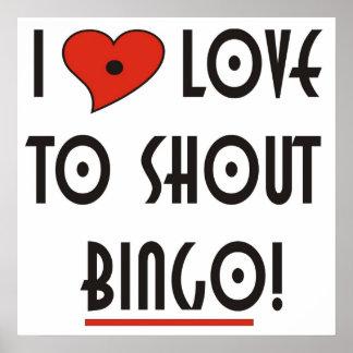 Jag älskar för att ropa Bingo Poster