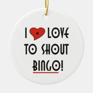 Jag älskar för att ropa Bingo Julgransprydnad Keramik