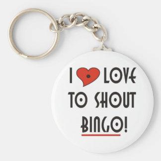 Jag älskar för att ropa BINGO Rund Nyckelring
