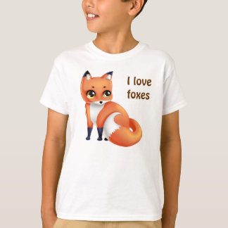 Jag älskar för den Kawaii för rävar den gulliga Tee Shirts