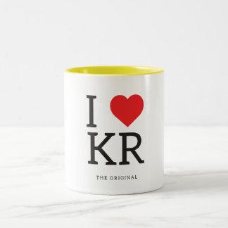 Jag älskar för hjärtaKR för korean   I muggen Två-Tonad Mugg
