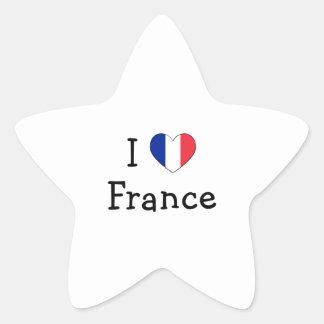 Jag älskar frankriken stjärnformat klistermärke