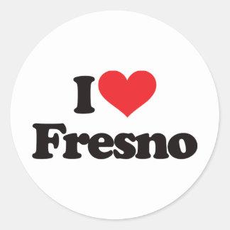 Jag älskar Fresno Runt Klistermärke