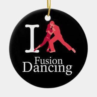 Jag älskar fusiondans julgransprydnad keramik
