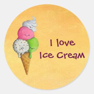 Jag älskar glass runt klistermärke