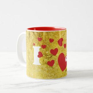 Jag älskar glitter och röda hjärtor Två-Tonad mugg