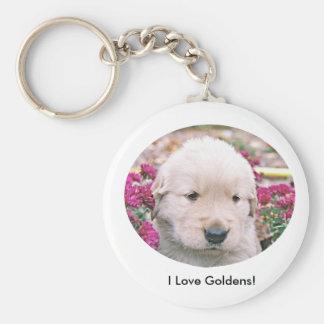 Jag älskar Goldens! Rund Nyckelring
