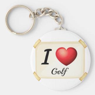 Jag älskar golf rund nyckelring