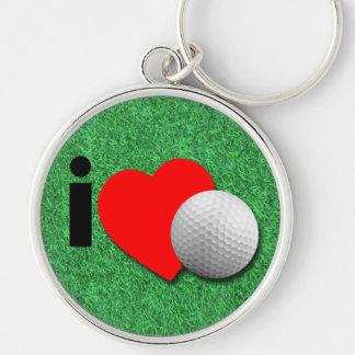 Jag älskar Golf Rund Silverfärgad Nyckelring