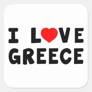 Jag älskar Grekland Fyrkantiga Klistermärken