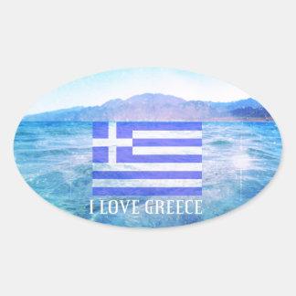 Jag älskar Grekland Ovala Klistermärken