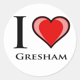 Jag älskar Gresham Runt Klistermärke