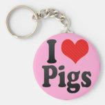 Jag älskar grisar nyckelringar