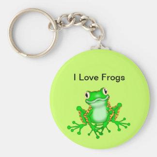 Jag älskar grodor Keychain Rund Nyckelring