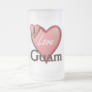 Jag älskar Guam Frostat Ölglas
