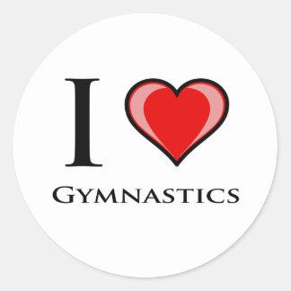 Jag älskar gymnastik runt klistermärke