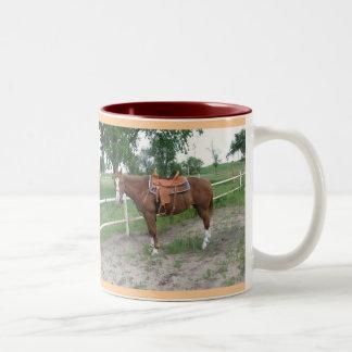 Jag älskar hästar!!! Två-Tonad mugg
