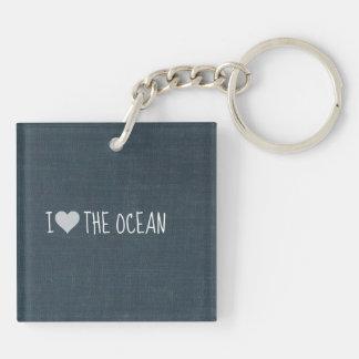 Jag älskar hav fyrkantigt dubbelsidigt nyckelring i akryl