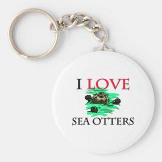 Jag älskar havsuttrar rund nyckelring