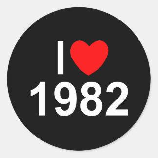 Jag älskar (hjärta) 1982 runt klistermärke