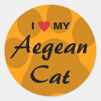 Jag älskar (hjärta) min Aegean katt Pawprint Runt Klistermärke