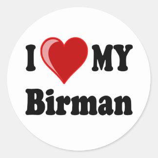 Jag älskar (hjärta) min Birman katt Runt Klistermärke