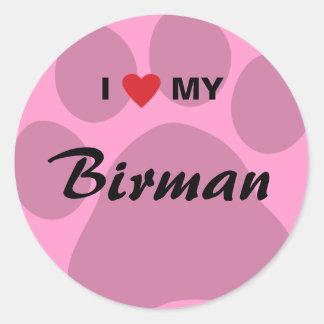 Jag älskar (hjärta) min Birman Pawprint Runt Klistermärke