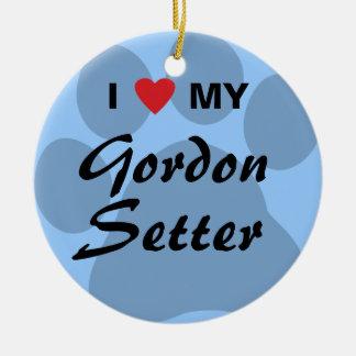 Jag älskar (hjärta) min Gordon Setter Julgransprydnad Keramik