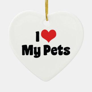 Jag älskar hjärta min husdjur - djur älskare julgransprydnad keramik