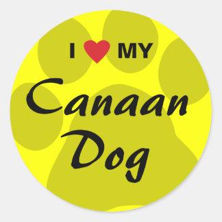 Jag älskar (hjärta) min Kanaan hund Runt Klistermärke