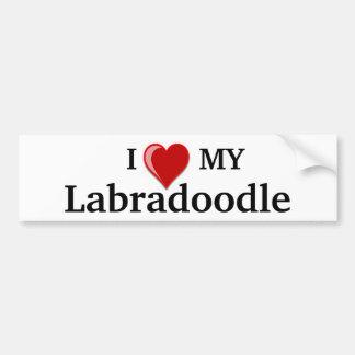 Jag älskar (hjärta) min Labradoodle hund Bildekal