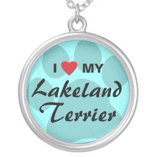 Jag älskar (hjärta) min Lakeland Terrier Silverpläterat Halsband