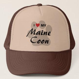 Jag älskar (hjärta) min Maine Coonkatt Pawprint Keps