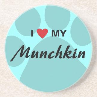 Jag älskar (hjärta) min Munchkin kattPawprint Underlägg Sandsten