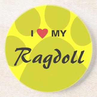 Jag älskar (hjärta) min Ragdoll katt Pawprint Underlägg
