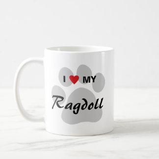 Jag älskar (hjärta) min Ragdoll katt Pawprint Vit Mugg