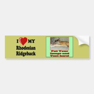 Jag älskar (hjärta) min Rhodesian Ridgeback hund Bildekal