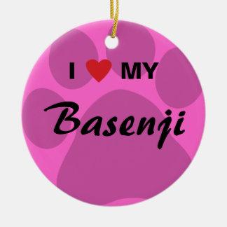 Jag älskar (hjärta) mitt Basenji tasstryck Julgransprydnad Keramik
