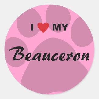 Jag älskar (hjärta) mitt Beauceron tasstryck Runt Klistermärke