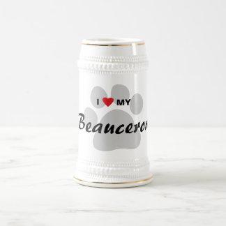 Jag älskar (hjärta) mitt Beauceron tasstryck Sejdel