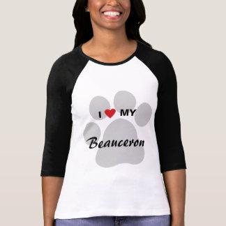 Jag älskar (hjärta) mitt Beauceron tasstryck T-shirt