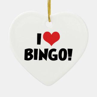 Jag älskar hjärtaBingo! - Bingoälskare Julgransprydnad Keramik