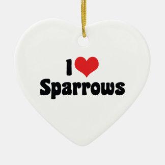 Jag älskar hjärtaSparrows - fågelälskare Julgransprydnad Keramik