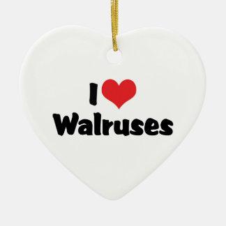 Jag älskar hjärtaWalruses Julgransprydnad Keramik
