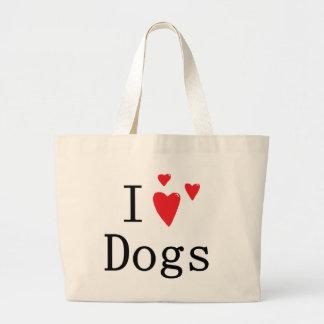 Jag älskar hundar jumbo tygkasse
