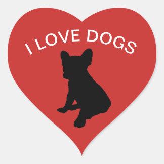 Jag älskar hundklistermärken hjärtformat klistermärke