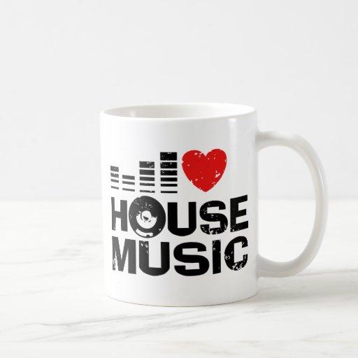 Jag älskar husmusik kaffe koppar